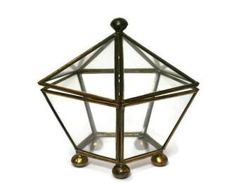 "Vintage Trinket Box  /  Large 6"" X 6""  /  Brass and Glass Pentagon Shaped Jewelry Treasure Chest /  Wedding Ring Box  /  Beach Cottage Decor"