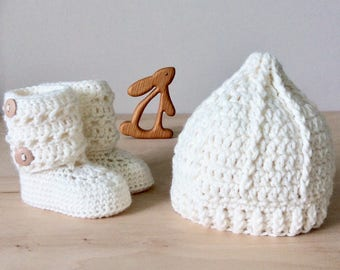 white knitted baby gift set, knitted baby hat, knitted baby booties, newborn baby girl shower gift, merino wool by warm and woolly on etsy