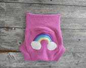 Upcycled Wool Soaker Cover Diaper Cover With Added Doubler Pink With Rainbow Applique MEDIUM 6-12M Kidsgogreen