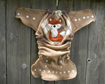 Upcycled Merino Wool Nappy Cover Diaper Wrap Cloth Diaper Cover One Size Fits All Beige/ White Argyle With Fox Applique / Beige