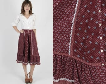 Gunne Sax Skirt Gunne Sax Mini Prairie Skirt Hippie Skirt Boho Skirt 70s Skirt Vintage Skirt Maroon Calico Floral Festival Mini M