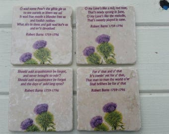 Robert Burns Scottish Thistle Stone Coaster Set of 4 Tea Coffee Beer Coasters