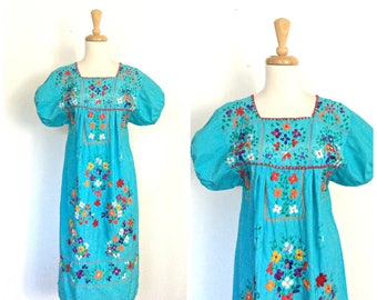 Vintage Oaxaca Dress - embroidered dress - cotton sundress - boho dress - Mexican dress - ethnic - M