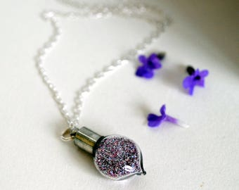 Fairy Sparkle Necklace,Sparkle Dust, Fairy Tale, Sterling Silver Necklace, Fairy Magic, Pixie Dust, Once Upon A Time, Purple Glitter