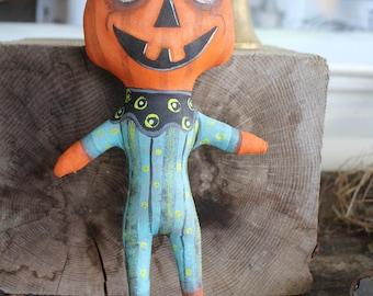 OOAK Lowbrow Goth Halloween Pumpkin Primitive Folk Art Doll Creepy and Cute Big Eye JOL Whimsical Fun Vintage Style Odd Whimsy