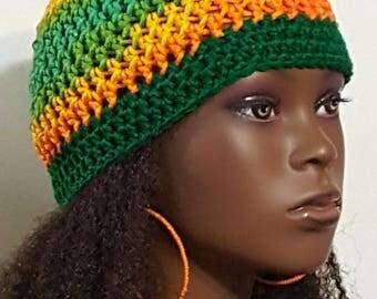 Citrus Crochet Skullcap Beanie and Earrings by Razonda Lee Razondalee