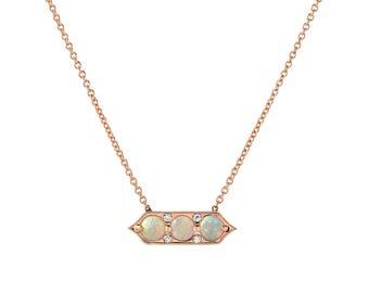 Opal Necklace, Opal Diamond Necklace, Delicate Opal Necklace, October Birthstone, Rose Gold Opal Necklace, Boho Jewelry, Push Present, NIXIN