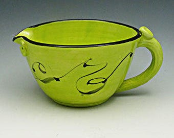 Lime Green 6 cup Pottery Batter Bowl-  Mixing Cup with Wire Whip