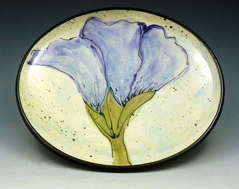 Violet Blue Floral Hand Painted Ceramic Dish- Wheel Thrown Pottery - One of a Kind