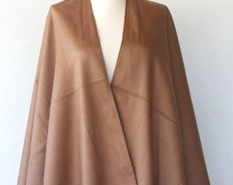 Bohemian poncho Camel Tan autumn fall fashion winter wrap boho chic poncho Native cape Women clothings Modern minimalist Light brown beige