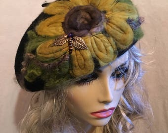Needle Felted Black Beret....Large Needle Felted Sunflower on a Wool Beret and Embellished with A Cute Dragonfly