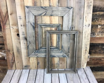 ON SALE - Ebony Stain Picture Frame Set of 3 , Rustic Set, 9x7, 11x17, 12x15, Photo Frame, Gallery Frame Set, Lot 233