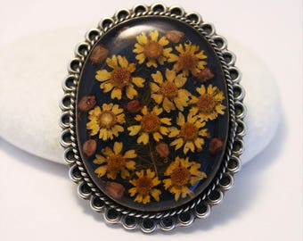 Vintage sterling silver flower brooch. Oval flower brooch.  Antiker schmuck