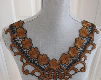 Lace Gold and Black Collar Applique