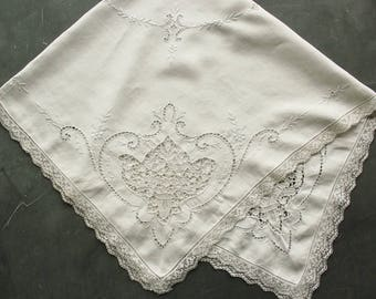 Antique White Linen Openwork Needle Lace and Embroidery Tablecloth