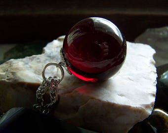 Red Garnet Glass Vintage Marble Pendant