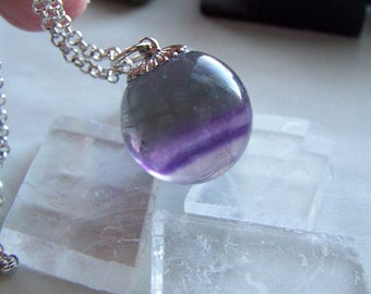 Rainbow Fluorite Gemstone Crystal Ball Pendant Necklace