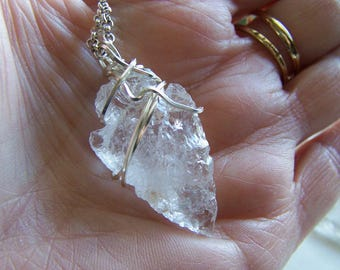 Natural Quartz Crystal Arrowhead Wire Wrapped Pendant