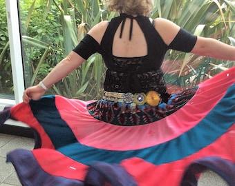 Gypsy skirt, tribal belly dance skirt, flamenco, boho skirt, belly dance costume, green and pink skirt, 14 yards, ATS skirt.