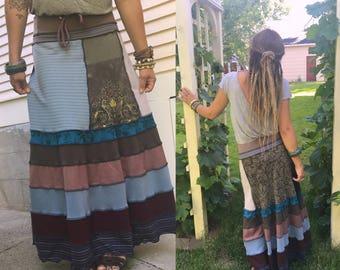 Eco long boho Skirt, Size S/M, long full skirt, patchwork skirt, hippie skirt, boho skirt, festival skirt, bold skirt,jersey skirt,  Zasra