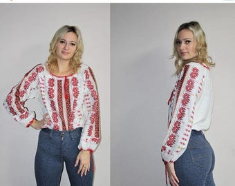 FLASH SALE - Ukrainian Ethnic Vintage 70s Embroidered Hippie Boho Ethnic Blouse - 1970s Tops - 70s Clothing - WV0080