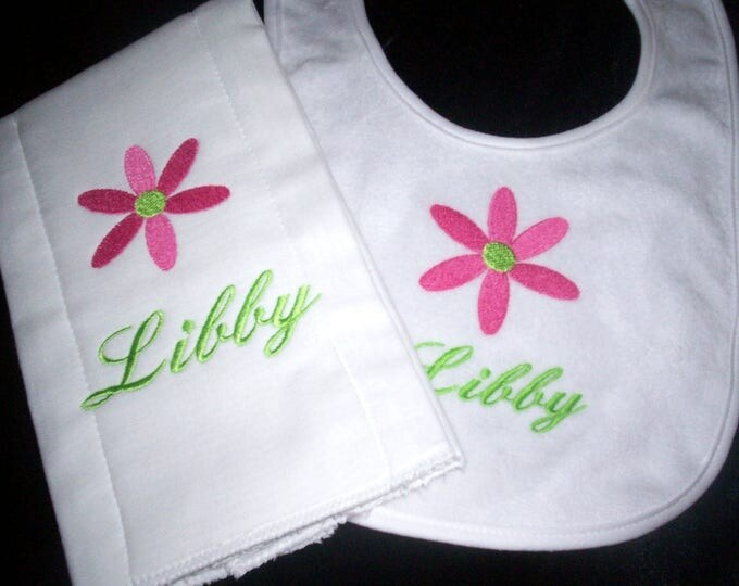 Retro flower baby bib and burp - flower girl gift  - Personalized baby boy gift - fisherman bib - embroider baby set - personalized baby