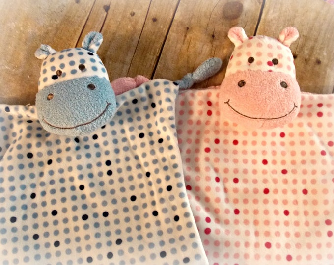 Personalized blankie - Hippo - Embroider comfort toy - Pink baby girl - blue baby boy - security blanket - monogrammed toy - personalized