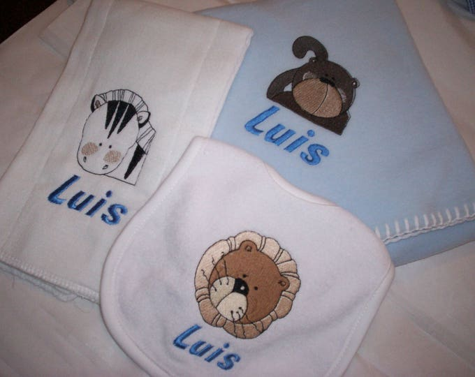 Zoo Animals baby personalized blanket bib burp set - Monkey embroider gift set - Tiger baby bib - Personalize boy blanket set - bib