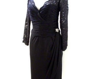 1980s Black Lace Cocktail Dress with Rhinestone Embellishment - Vintage 80s Black Party Dress - Black Sheath Dress - Size Medium to Large