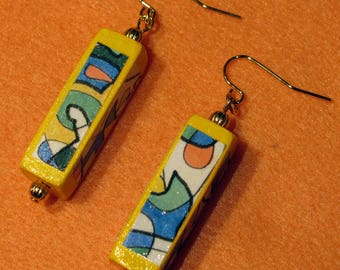 Hand painted earrings pierced yellow modern dangles gift for woman