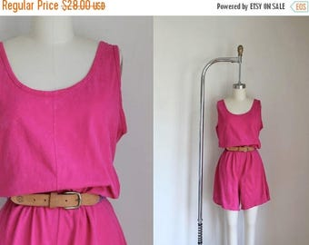 20% off SALE vintage 1980s romper - FUSCHIA cotton jersey playsuit / L-Xl