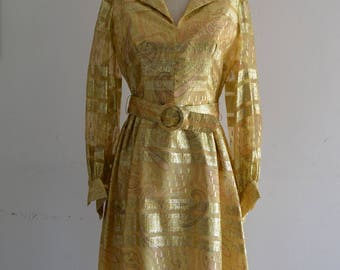 1970s Duvall's' Metallic Gold Parsley Brocade Sheer Yellow Glitter Belted High Waits Midi dress Evening Long Sleeve Gown Holiday