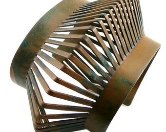 BIG Vintage 1930s 40s Art Deco to Modernist Francisco REBAJES Handmade Copper BRACELET