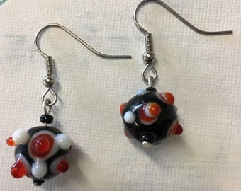 Sale - Black and Red Lampwork Earrings
