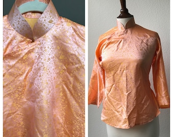 Vintage orange dream shatung silk sz XS or S