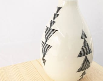READY TO SHIP hand painted wheel thrown porcelain striped triangle pattern vase