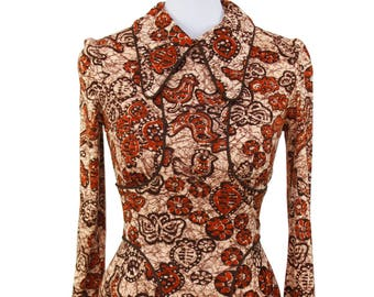 70s YOURS San Francisco—Batik Long-Sleeved Dress—Birds and Butterflies—Size 6