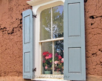 Blue Shutters on Adobe, Southwest Art, 4 x 6 Matted Photograph, Digital Art, Original Photograph