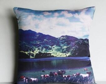 "SALE SALE SALE eco friendly pillow decorative cushion, 16x16  Valley Scene  organic cotton cushion cover, pillow, 16"", 41cms"