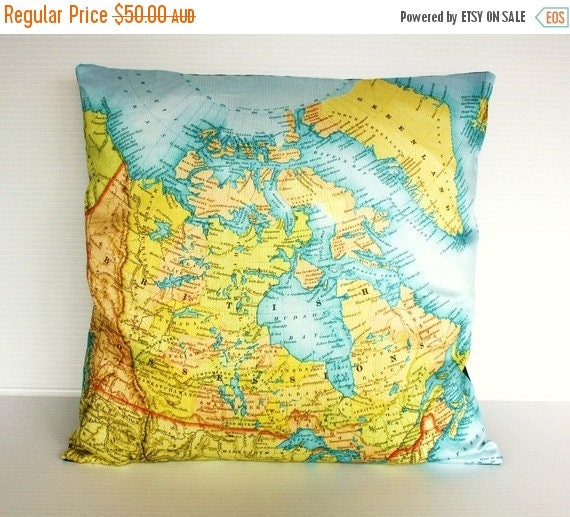 SALE SALE SALE pillow cover, map cushion Canada organic cotton cushion, map pillow, 16 inch pillow,16x16inch 40cm cushion cover