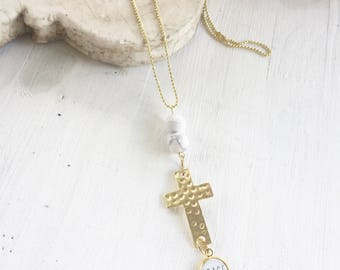 Gold Cross Grace Necklace