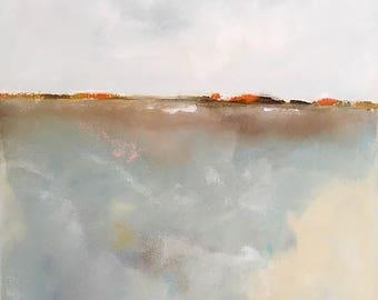 Original abstract coastal painting - Tomales Bay 22 x 28