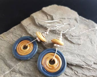 Quirky Lampwork and Sterling Silver Earrings - Stone and steel blue