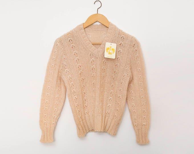 Vintage knit sweater deadstock beige