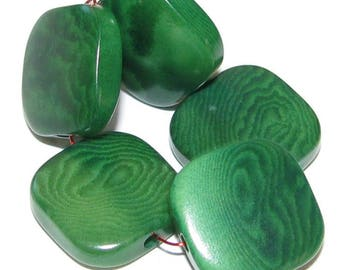 10 Tagua Nut Beads Flat Squares, 15mm, Malachite Green, Natural Beads, Organic Beads, Eco Friendly Beads, Vegetable Ivory Beads, EcoBeads