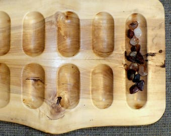 Primitive Mancala Game board in Figured Cottonwood-  Handmade from US grown Reclaimed Wood FC17001