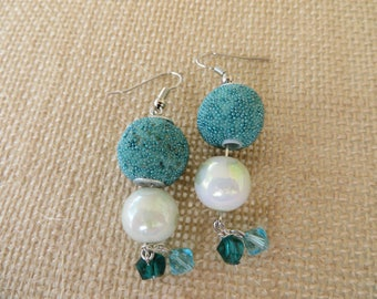 Aqua, Crystal and Opalescent Colored Beaded Dangling Earrings