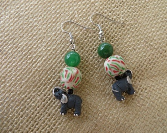 Dangling Clay Elephant Ghana Glass And Green Agate Bead Earrings