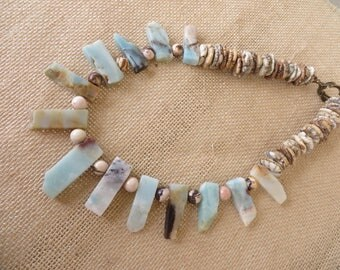 Amazonite Spear Australian Zebra Jasper And Shell Bead Tribal Inspired Necklace