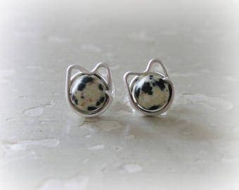 Spotted Cat Earrings, Spotted Cat Studs, Cat Earrings, Sterling Cat Earrings, Cat Jewelry, Cat Lover Gift, Sterling Silver Posts, Cat Crazy